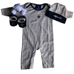 Dallas Cowboys Newborn Coverall, Hat, Booties & Teddy Bear Set by Outerstuff