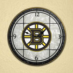 Boston Bruins Art Glass Wall Clock by The Memory Company