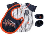 Detroit Tigers Newborn Creeper, Bib & Booties Set by Adidas