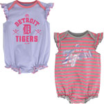 Detroit Tigers Newborn Girls Pink Sparkle 2-Pack Bodysuit Set by Majestic
