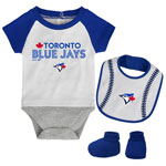 Toronto Blue Jays Newborn Baseball Kid Creeper, Bib & Booties Set by Outerstuff