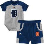 Detroit Tigers Newborn Double Header Bodysuit and Short Set by Majestic