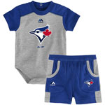 Toronto Blue Jays Newborn Double Header Bodysuit and Short Set by Majestic