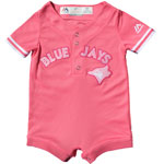 Toronto Blue Jays Girls Newborn Pink Cool Base Jersey Romper by Majestic