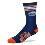 Edmonton Oilers 4 Stripe Deuce Crew Socks by For Bare Feet