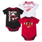 Detroit Red Wings Newborn 3-Point Spread 3-Piece Creeper Set by Reebok