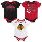 Chicago Blackhawks Newborn Hat Trick 3-Piece Creeper Set by Reebok