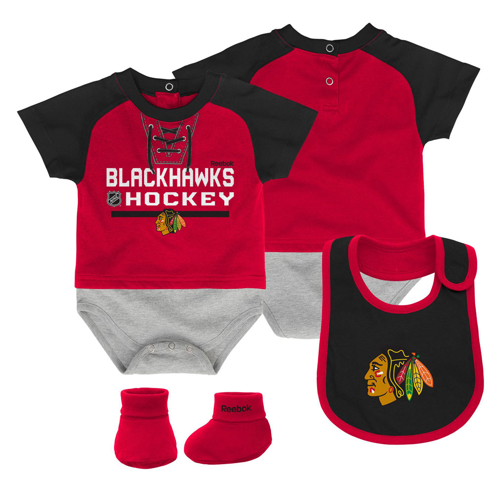 8d6c9948cb0 Chicago Blackhawks Newborn Junior League Creeper, Bib & Booties Set by  Reebok