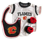 Calgary Flames Newborn Creeper, Bib & Bootie Set by Reebok