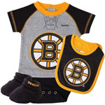 Boston Bruins Newborn Raglan Creeper, Bib & Booties Set by Reebok