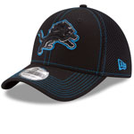 Detroit Lions Shock Stitch Neo 39THIRTY Stretch Fit Hat - Black by New Era