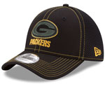 Green Bay Packers Shock Stitch Neo 39THIRTY Stretch Fit Hat - Black by New Era