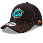 Miami Dolphins Shock Stitch Neo 39THIRTY Stretch Fit Hat - Black by New Era