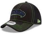 Seattle Seahawks Shock Stitch Neo 39THIRTY Stretch Fit Hat - Black by New Era