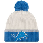 Detroit Lions Prime Team Pom Cuffed Knit Hat by New Era