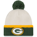Green Bay Packers Prime Team Pom Cuffed Knit Hat by New Era