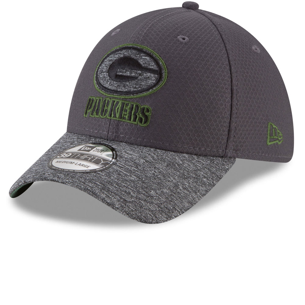 online store efc0e c7c69 Green Bay Packers Popped Shadow 39THIRTY Stretch Fit Hat - Graphite
