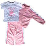 Edmonton Oilers Infant Girls Pink Zip-Up Jacket, Pant & T-Shirt Set by Mighty Mac