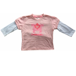 Toronto Maple Leafs Youth Girls Pink Faux Layer Long Sleeve T-Shirt by Mighty Mac