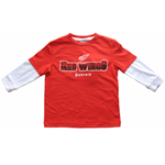 Detroit Red Wings Toddler Distressed Faux Layer Long Sleeve T-Shirt by Mighty Mac