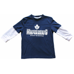 Toronto Maple Leafs Toddler Distressed Faux Layer Long Sleeve T-Shirt by Mighty Mac