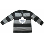 Toronto Maple Leafs Child Rugby Stripe Long Sleeve T-Shirt by Mighty Mac - Black