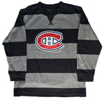 Montreal Canadiens Youth Black/Grey Rugby Stripe Long Sleeve T-Shirt by Mighty Mac