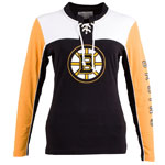 Boston Bruins Women's Visp Long Sleeve Lace Up Top by Old Time Hockey