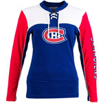 Montreal Canadiens Women's Visp Long Sleeve Lace Up Top by Old Time Hockey