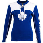 Toronto Maple Leafs Women's Visp Long Sleeve Lace Up Top by Old Time Hockey