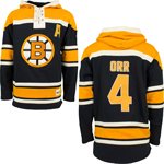 Bobby Orr Boston Bruins Lace Jersey Pullover Hooded Sweatshirt by Old Time Hockey