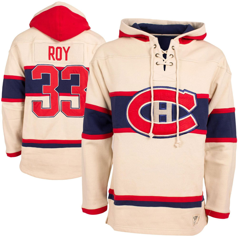 separation shoes 76c50 2be96 Patrick Roy Montreal Canadiens Vintage Lacer Heavyweight Pullover Hoodie by  Old Time Hockey