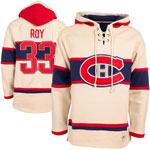 Patrick Roy Montreal Canadiens Vintage Lacer Heavyweight Pullover Hoodie by Old Time Hockey