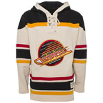 Vancouver Canucks Vintage Skate Logo Lacer Heavyweight Pullover Hoodie by Old Time Hockey