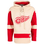 Detroit Red Wings Vintage Lacer Heavyweight Pullover Hoodie by Old Time Hockey