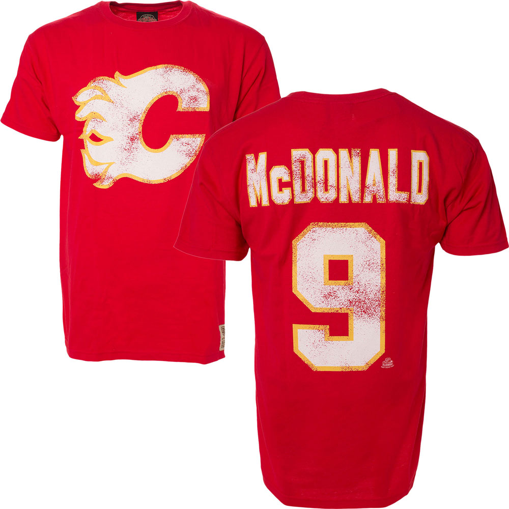 wholesale dealer 9aaa3 078bb Lanny McDonald Calgary Flames Alumni Player Name & Number T-Shirt by Old  Time Hockey