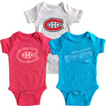 Montreal Canadiens Newborn Girls Craze 3-Piece Creeper Set by Old Time Hockey
