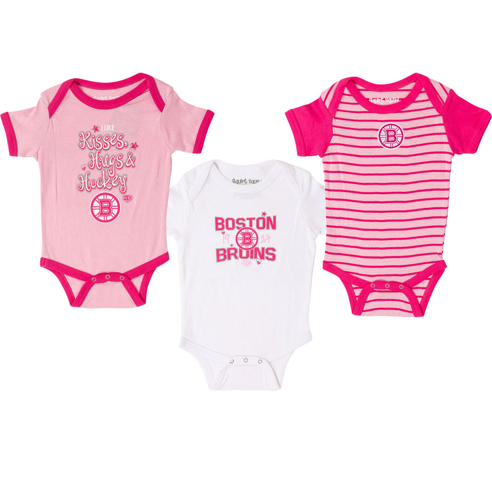 4593d5356 Boston Bruins Newborn Girls Pink Lizzy 3-Piece Creeper Set by Old Time  Hockey