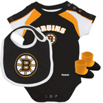Reebok Boston Bruins Newborn Creeper, Bib & Bootie Set