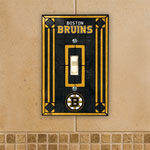 The Memory Company Boston Bruins Single Art Glass Light Switch Plate Cover