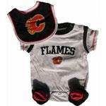 Reebok Calgary Flames Newborn Creeper, Bib & Bootie Set