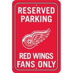 Fremont Die Detroit Red Wings Plastic Reserved Parking Sign
