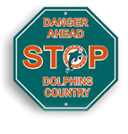 Fremont Die Miami Dolphins Plastic Stop Sign