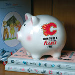 The Memory Company Calgary Flames Born To Be Ceramic Piggy Bank
