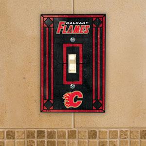 The Memory Company Calgary Flames Single Art Glass Light Switch Plate Cover