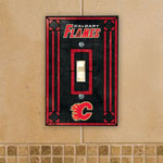 The Memory Company Calgary Flames Single Art Glass Light Switch Plate Cover