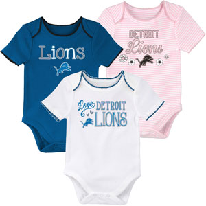 15fbe966 Detroit Lions Newborn Girls 3rd Quarter 3-Piece Creeper Set by Outerstuff