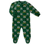 Green Bay Packers Newborn All Over Print Raglan Sleeper by Outerstuff