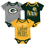 Green Bay Packers Newborn Little Tailgater 3-Piece Creeper Set by Outerstuff