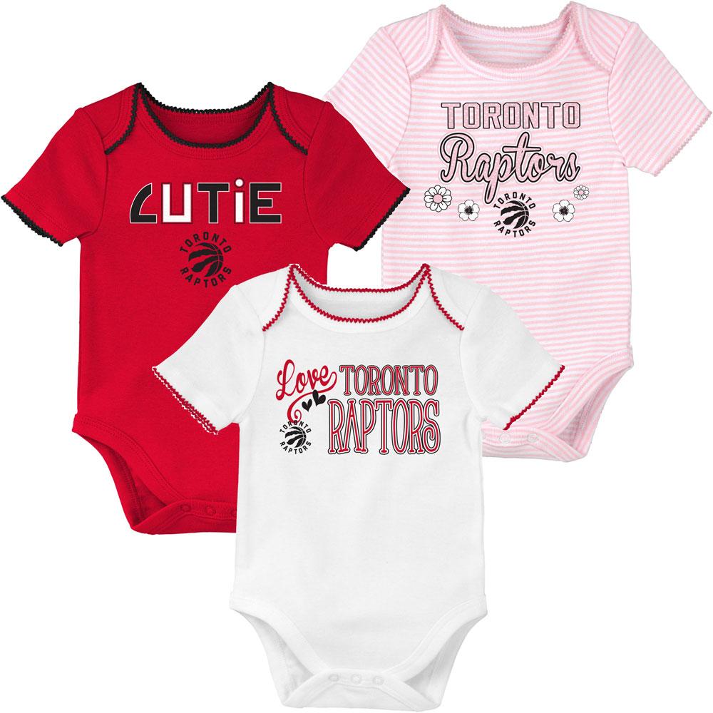 size 40 9fd95 872b1 Toronto Raptors Newborn Girls 3rd Quarter 3-Piece Creeper Set by Outerstuff